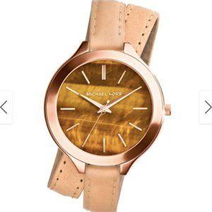 Michael Kors Slim Runway Double Wrap Leather Watch